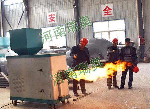 云南曲靖客户考察瑞奥生物质颗粒燃烧机现场图片